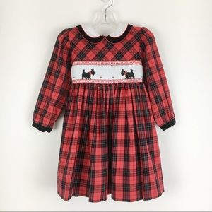 Vintage Red Plaid Scottie Dog Smocked Dress 2T